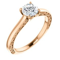 14K Rose Round Engagement Ring   Ever&Ever