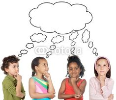 portrait on beach group photo white background | Photo: multiethnic group of children thinking a over white background