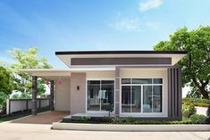 Two Bedroom Modern Style House with Interior Photos House Beautiful beautiful two bedroom house plans Modern House Colors, Modern Small House Design, Small House Exteriors, Small Modern Home, Modern Roof Design, Box House Design, Modern Bungalow House Plans, Flat Roof Design, House Plans One Story
