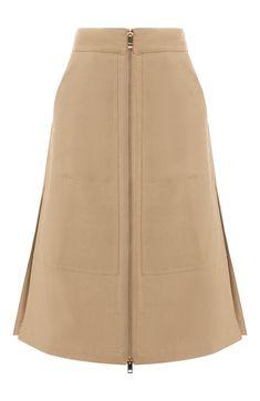 dad03f3161c Женская бежевая юбка из смеси хлопка и шелка BURBERRY — купить за 51850 руб.  в