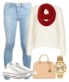 """""""Untitled #3"""" by blahblah55 ❤ liked on Polyvore featuring Frame Denim, Topshop, Michael Kors, MICHAEL Michael Kors and Converse"""