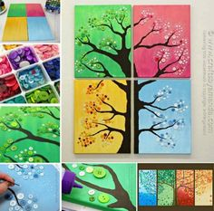 4 Seasons Button Wall Art