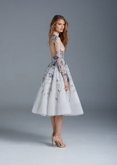 Dusty blue illusion tulle ballerina gown with floral embroideries and open back // The Nightingale: Paolo Sebastian Spring/Summer 2015-16 Collection (Instagram: theweddingscoop)
