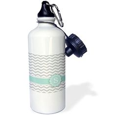 3dRose wb_154238_1 Letter S Monogrammed on Grey and White Chevron with MintGray ZigzagsPersonal Initial Zig Zags Sports Water Bottle 21 oz White ** Be sure to check out this awesome product.