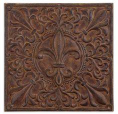 Fleur de Lis decorative wall plaque made of hand forged and hand embossed metal with a rust brown wash and burnished undertones Metal Walls, Decor, Metal Wall Decor, Wall Art, Fleur De Lis, Home Decorators Collection, Home Decor, Fun Decor, Tuscan Decorating