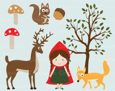 Little Red Riding Hood clip art imágenes Royalty free Prediseñadas, Caperucita Roja clipart - Instant Download