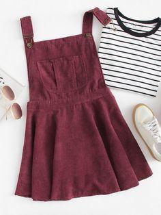 #ROMWE - #ROMWE Pocket Front Zip Up Back Corduroy Pinafore Dress - AdoreWe.com