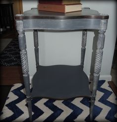 Antique mahogany table painted in shades of chalk paint.
