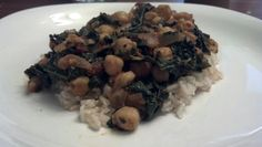 April 30: curried chickpeas and kale with brown rice
