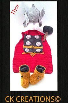 Free hand crochet Thor costume