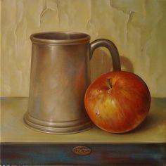 ,,Still life''-oil on canvas-25x25cm by artist Florentin Vesa