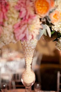 Elegant Wedding Table Decorated with Lace, Flowers, and Pearls.love the pearls Wedding Centerpieces, Wedding Table, Wedding Blog, Wedding Events, Our Wedding, Dream Wedding, Wedding Decorations, Table Decorations, Centrepieces