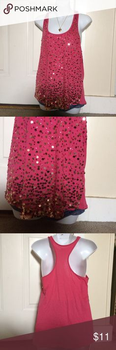 FLIRTY hot pink sequin racer back Perfect condition Express Tops Tunics