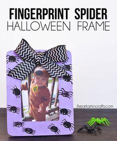 Fingerprint Spider Halloween Picture Frame
