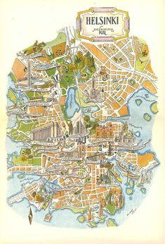 Helsinki Map found in a 1950s travel book about Scandinavia. This vintage Finland map has been removed from the original book and is for sale in my Etsy shop (www.Hildalea.com) | #helsinki #finland #map #vintage #suomi #nofilter