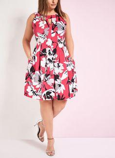 Floral Print Scuba Fit & Flare Dress
