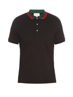 3de52cb8182f6f Contrast-collar cotton-blend piqué polo shirt