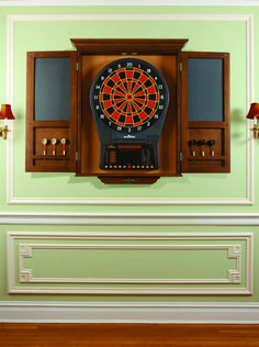 DART BOARD CABINET-CHESTNUT Dart Board Backboard, Dart Board Set, Dart Board Cabinet, Dart Set, Dartboard Cabinet Diy, Brunswick Pool Tables, Clock Games, Electronic Dart Board, Portable Spa