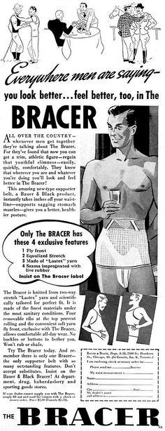 Whenever men get together they talk about girdles? (The Bracer 1937 - Health interests