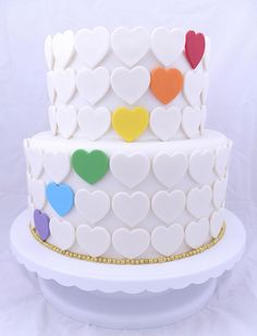 Rainbow Hearts Cake by Sugary Flower, via Flickr