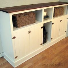 Dining room built in cabinets with tung and grovve doors & old school hardware.