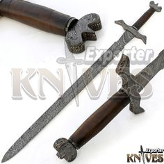 "40"" NEW AWESOME VIKING DAMASCUS STEEL SWORD / LEAHTER WRAP WOODEN HANDLE KE-S23 #KNIVESEXPORTER"
