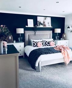 Fancy Master Bedroom Color Scheme Ideas is part of Master bedroom colors - The modern bedroom color schemes offer a huge palette that allows you to make a choice depending on the feel […] Bedroom Decorating Tips, Home Decor Bedroom, Modern Bedroom, Trendy Bedroom, Master Bedrooms, Cozy Bedroom, Blue Master Bedroom, Navy Bedroom Walls, Bedroom Bed