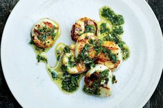 Grilled Scallops with Lemony Salsa Verde / Michael Graydon + Nikole Herriott