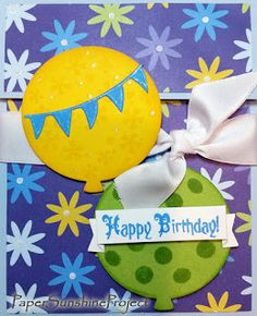 Paper Sunshine Project - Birthday Balloons Gift Card Holders - Blue with Yellow, Green & Blue Flowers - Stampin' Up!