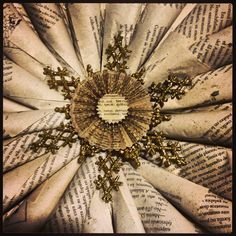 Book Page Wreath Tutorial. This website shows how to make a book page wreath tutorial.