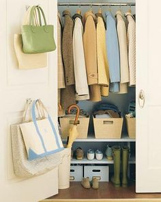 Take storage to new levels with shelves below a row of jackets.