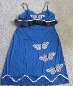 Navy blue altered upcycled nylon slip dress with by paintallday, $24.00