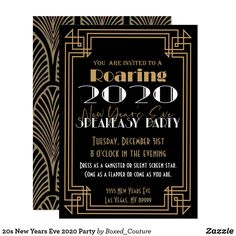 New Years Eve 2020 Party Invitation - Prom committee - Christmas Speakeasy Party, Gatsby Themed Party, Prohibition Party, New Year's Eve Party Themes, Prom Themes, New Year's Eve 2020, New Year 2020, Roaring 20s Party, Nye Party