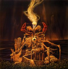 "Arise (Michael Whelan, 1990). Mixed media, 20"" x 20"". Featured on: SEPULTURA - Arise."