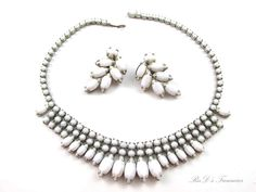 Vintage Signed WEISS White Milk Glass Rhinestone Necklace & Clip Earrings SET