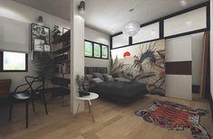 estanterias que separan espacio en el dormitorio moderno