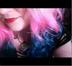 Pink into blue hair dip dyed ends