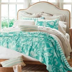 The batik-style bird and flower print is both cheerful and stunning, and we frost the cake for you: the reversible Maya Quilt also has the    wonderful, soft texture that makes any bed feel so welcoming. Back to that distinctive pattern: it can make a fresh statement while still giving you a lot    of wiggle room for styling it out your way with sheets, decorative pillows and other room accents of similar or different hues. The reverse side features    coordinating stripes. This year-roun...