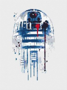Star Wars cross stitch pattern R2D2 cross stitch sampler