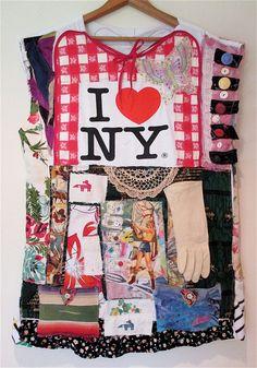 Catskills Adirondacks nEW yORK COLLAGE CLOTHING Recycled Upcycled Altered Art MyBonny Random Scraps of Fabric