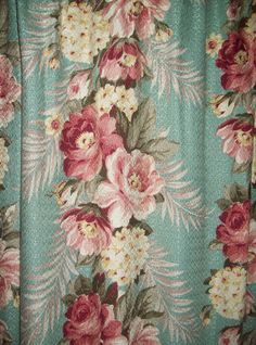 love this color combination.  vintage barkcloth pair curtains aqua pink by TheHumbleCottage, $145.00