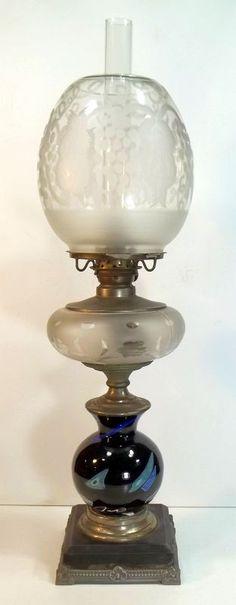 Mt.Washington glass | 202: Mt. Washington Lava Glass Oil Lamp : Lot 202