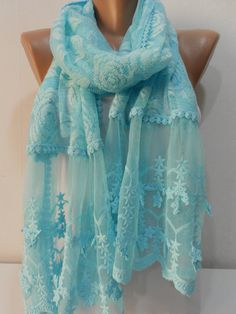 Aqua Blue Lace Scarf Shawl Women Cowl Scarf Spring Scarf Summer Scarf great idea to fill in open neck and add my color