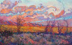 California desert original oil painting for sale by impressionist landscape artist Erin Hanson