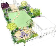 Idea for a small back town garden. A curving lawn, with a circle patio, shed and raised sleeper beds.