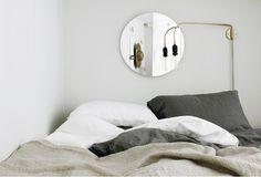 bedroom linen neutrals | brass details | interiors