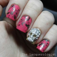 The Lacquerologist: Sparkly Punk featuring Born Pretty Store and OPI Gwen Shades! Get Nails, How To Do Nails, Hair And Nails, Halloween Nail Designs, Halloween Nails, Matte Nail Art, Acrylic Nails, Sugar Skull Nails, Sugar Skulls