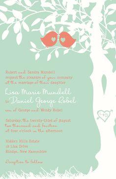 Coral and Aqua Custom Love Birds Wedding by InvitingMoments, $195.00