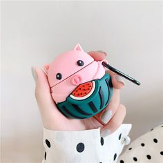 Cute Case for Apple Airpods, SevenPanda Cartoon Silicone Funny Airpod Case, Soft Kawaii Kits with Carabiner, Unique Cases for Girls Kids Women Air Pods - Watermelon Pig Iphone Accessories, Computer Accessories, Accessories Shop, Samsung Cases, Iphone Cases, Earphone Case, Wallpaper Iphone Disney, Air Pods, Airpod Case