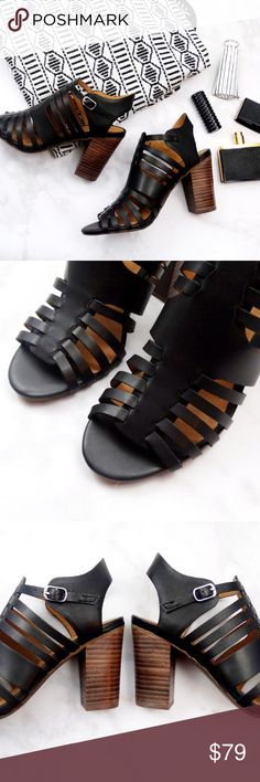 "Seychelles Black Leather Cage Sandals Size 6 with 3.5"" heel and buckle closure. Brand new in box. 08241601 Seychelles Shoes Sandals"